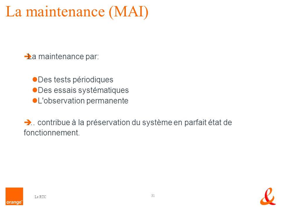 31 Le RTC La maintenance (MAI) La maintenance par: Des tests périodiques Des essais systématiques L'observation permanente … contribue à la préservati