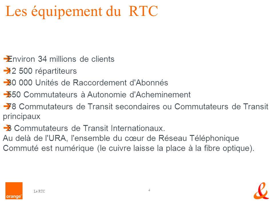 4 Les équipement du RTC Environ 34 millions de clients 12 500 répartiteurs 30 000 Unités de Raccordement d'Abonnés 550 Commutateurs à Autonomie d'Ache