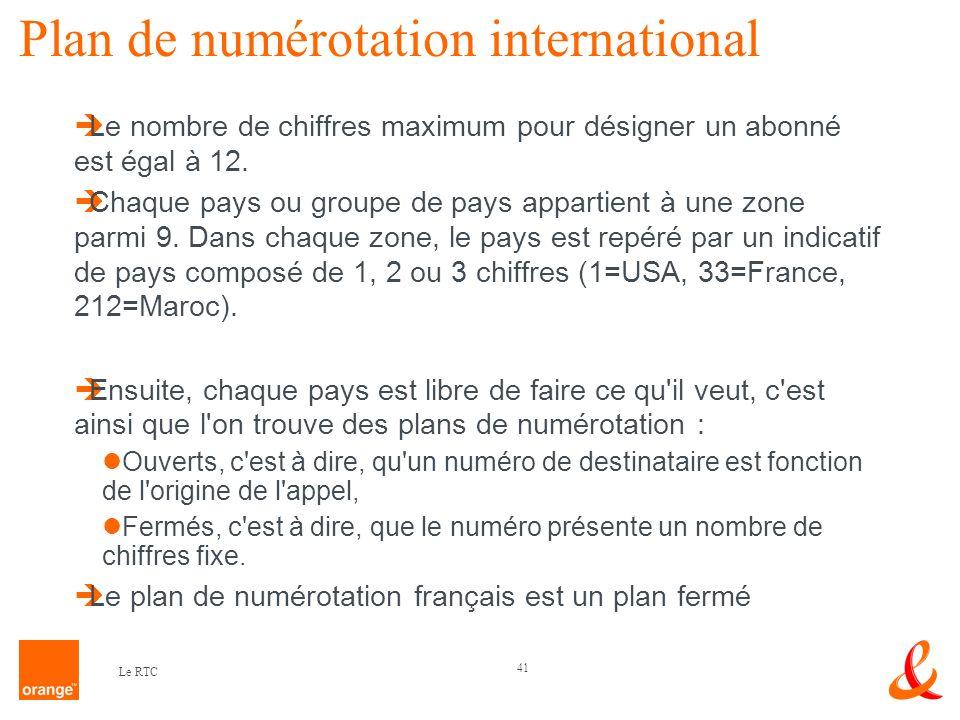 41 Le RTC Plan de numérotation international Le nombre de chiffres maximum pour désigner un abonné est égal à 12. Chaque pays ou groupe de pays appart