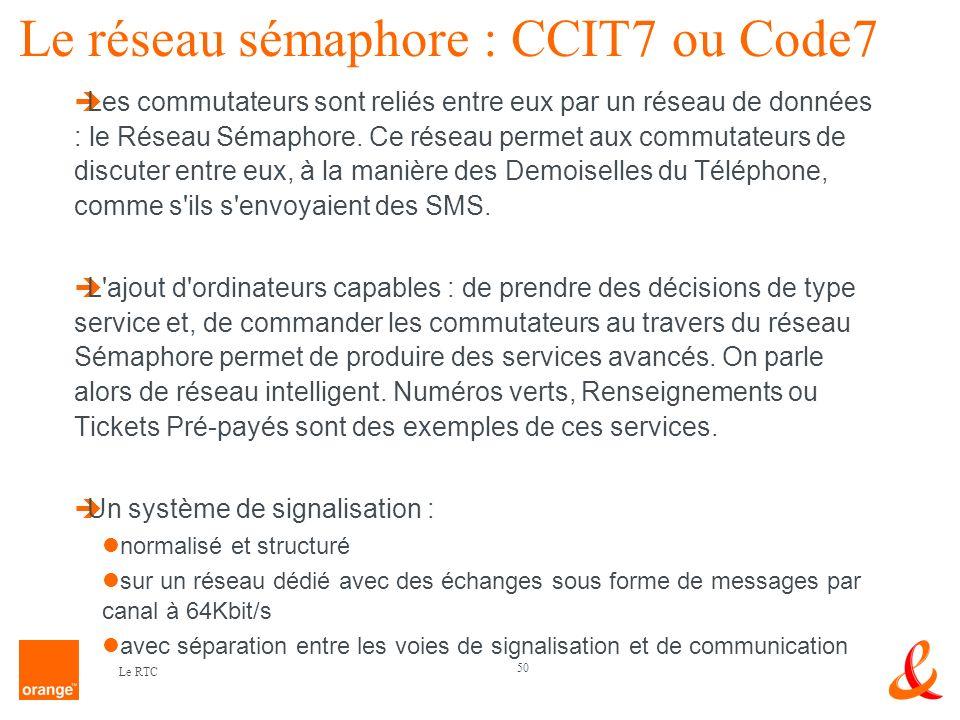 50 Le RTC Le réseau sémaphore : CCIT7 ou Code7 Les commutateurs sont reliés entre eux par un réseau de données : le Réseau Sémaphore. Ce réseau permet