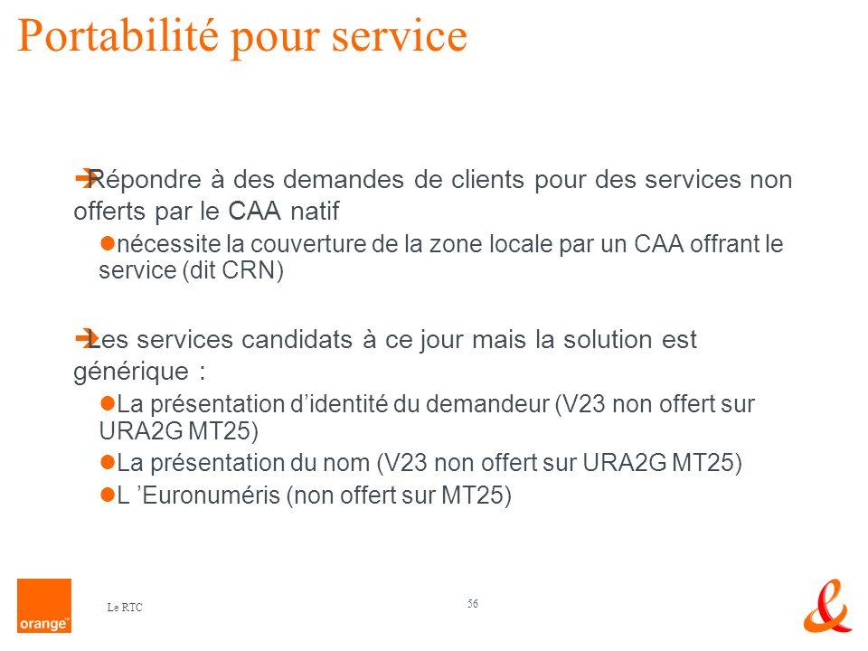 56 Le RTC Portabilité pour service Répondre à des demandes de clients pour des services non offerts par le CAA natif nécessite la couverture de la zon