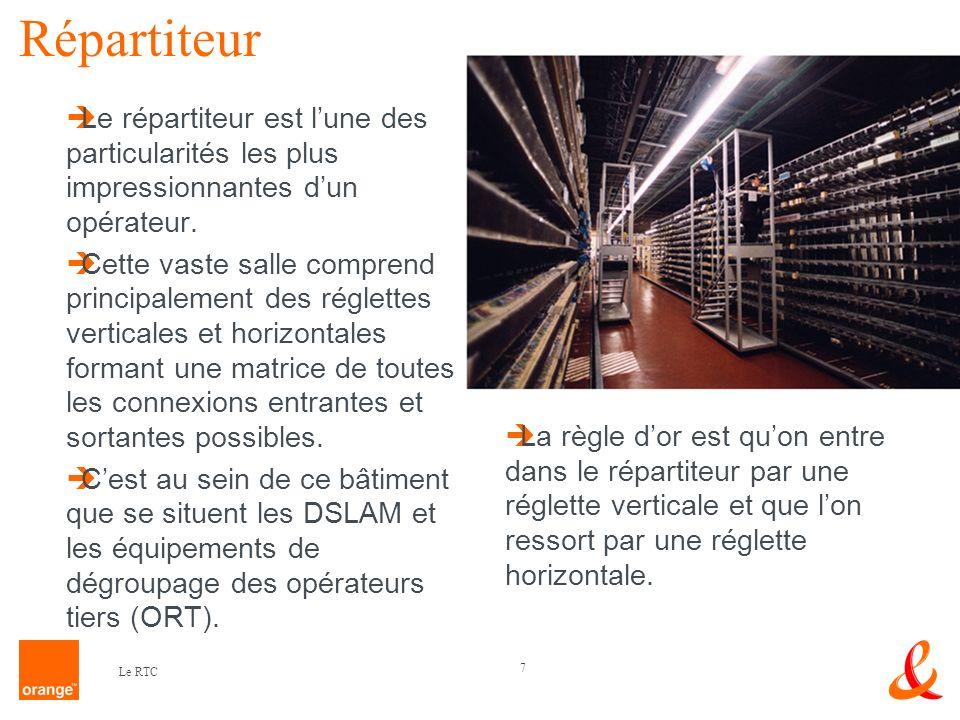 7 Le RTC Répartiteur Le répartiteur est lune des particularités les plus impressionnantes dun opérateur. Cette vaste salle comprend principalement des