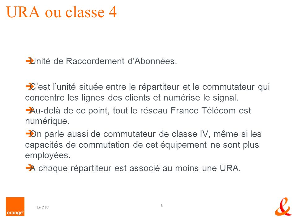 19 Le RTC Il existe 5 zones qui couvrent chacune une zone de numérotation téléphonique ( 1= Paris, 2 = Rouen, 3 = Nancy, 4 = Lyon et 5 = Bordeaux ).