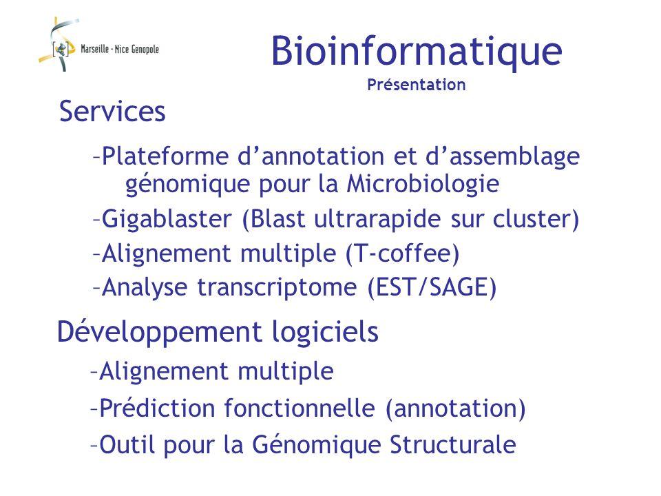 Bioinformatique Présentation Développement logiciels –Alignement multiple –Prédiction fonctionnelle (annotation) –Outil pour la Génomique Structurale