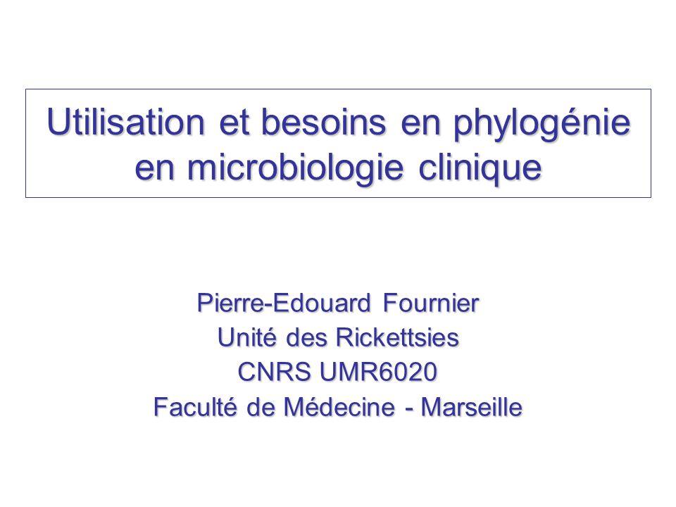 Utilisation et besoins en phylogénie en microbiologie clinique Pierre-Edouard Fournier Unité des Rickettsies CNRS UMR6020 Faculté de Médecine - Marsei