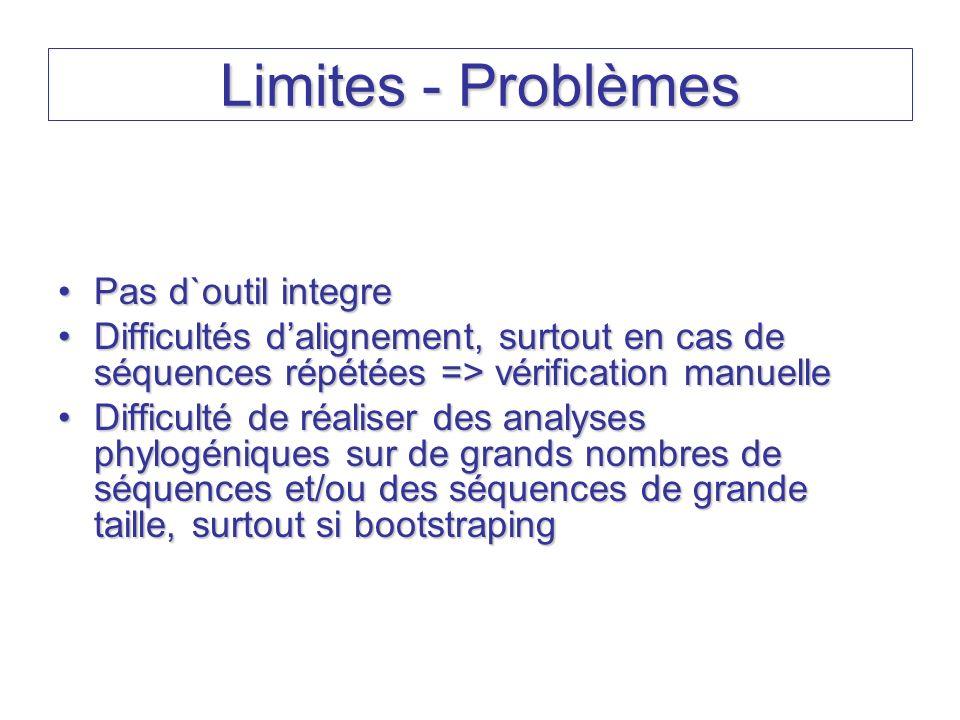 Limites - Problèmes Pas d`outil integrePas d`outil integre Difficultés dalignement, surtout en cas de séquences répétées => vérification manuelleDiffi