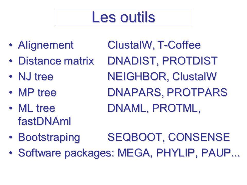 Les outils AlignementClustalW, T-CoffeeAlignementClustalW, T-Coffee Distance matrixDNADIST, PROTDISTDistance matrixDNADIST, PROTDIST NJ treeNEIGHBOR,