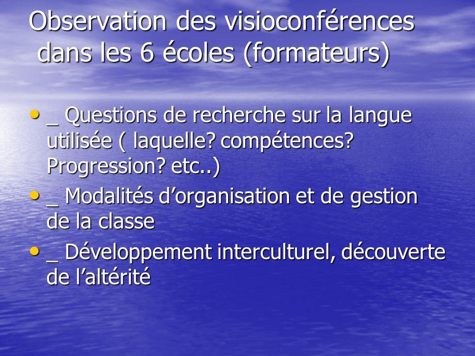 Observation des visioconférences dans les 6 écoles (formateurs) _ Questions de recherche sur la langue utilisée ( laquelle? compétences? Progression?