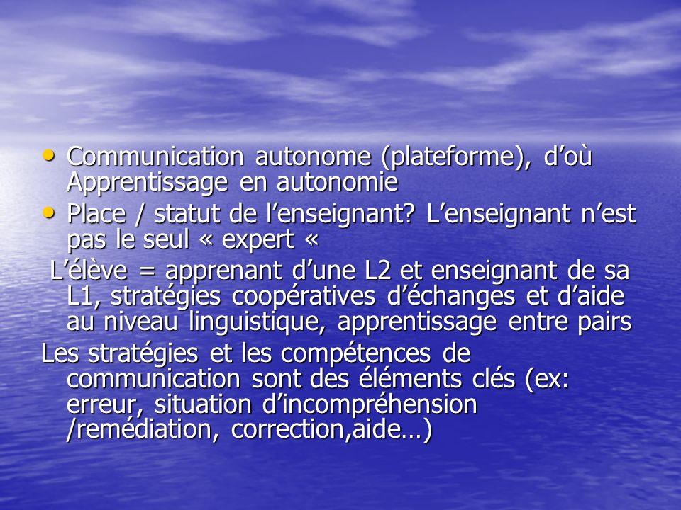 Communication autonome (plateforme), doù Apprentissage en autonomie Communication autonome (plateforme), doù Apprentissage en autonomie Place / statut
