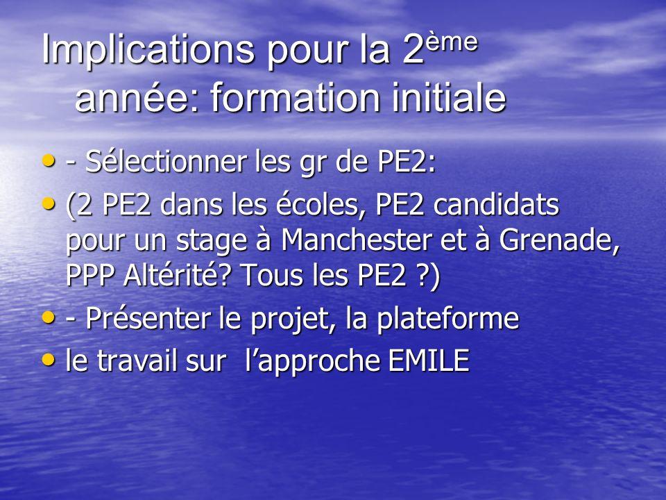 Implications pour la 2 ème année: formation initiale - Sélectionner les gr de PE2: - Sélectionner les gr de PE2: (2 PE2 dans les écoles, PE2 candidats