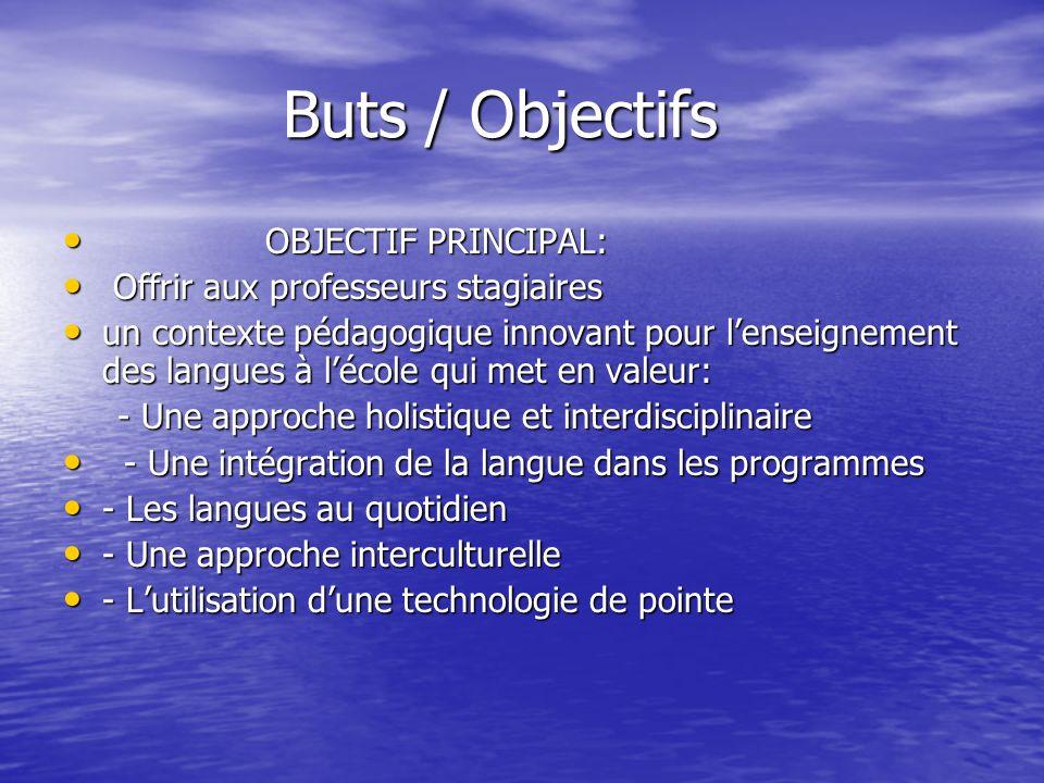 Buts / Objectifs Buts / Objectifs OBJECTIF PRINCIPAL: OBJECTIF PRINCIPAL: Offrir aux professeurs stagiaires Offrir aux professeurs stagiaires un conte