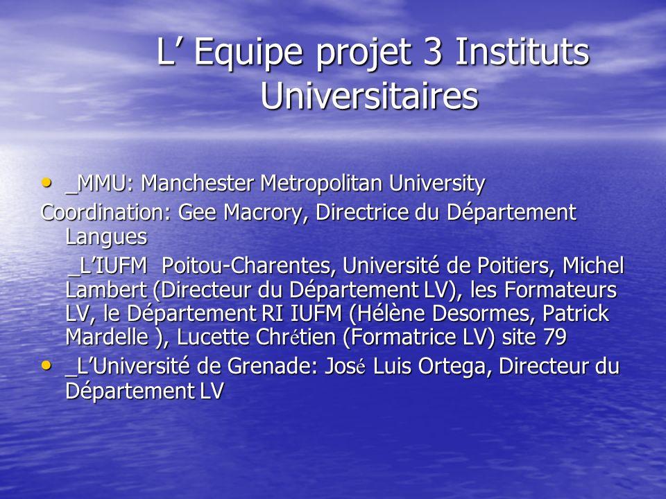 L Equipe projet 3 Instituts Universitaires L Equipe projet 3 Instituts Universitaires _MMU: Manchester Metropolitan University _MMU: Manchester Metrop