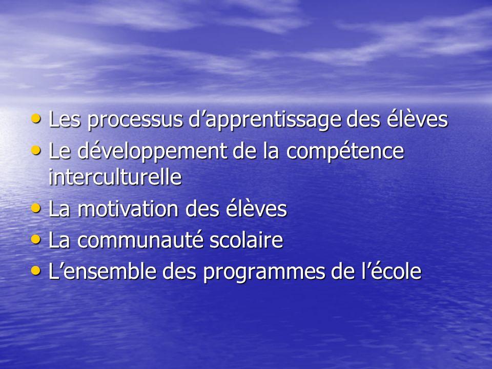 Les processus dapprentissage des élèves Les processus dapprentissage des élèves Le développement de la compétence interculturelle Le développement de