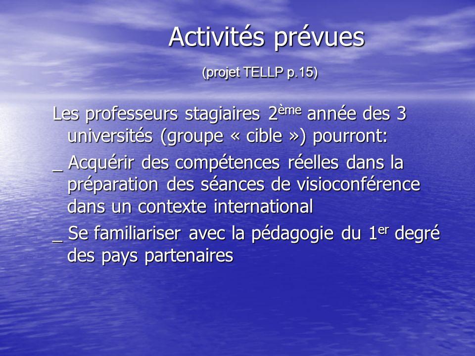 Activités prévues (projet TELLP p.15) Activités prévues (projet TELLP p.15) Les professeurs stagiaires 2 ème année des 3 universités (groupe « cible »