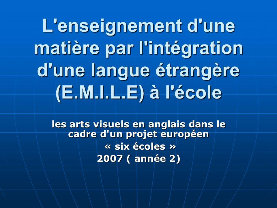 L'enseignement d'une matière par l'intégration d'une langue étrangère (E.M.I.L.E) à l'école les arts visuels en anglais dans le cadre d'un projet euro