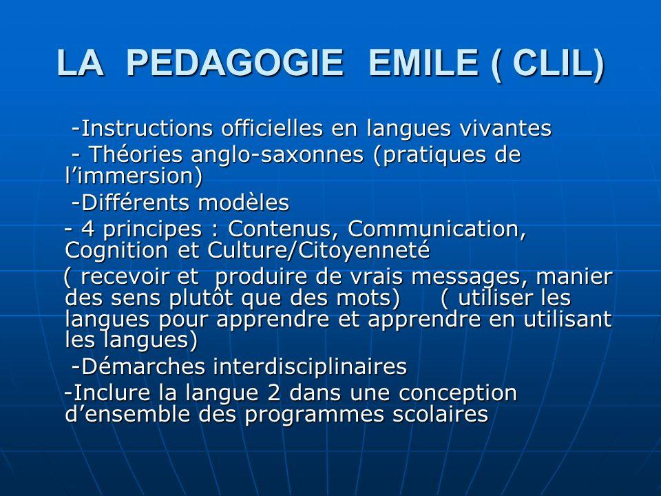 LA PEDAGOGIE EMILE ( CLIL) -Instructions officielles en langues vivantes -Instructions officielles en langues vivantes - Théories anglo-saxonnes (prat