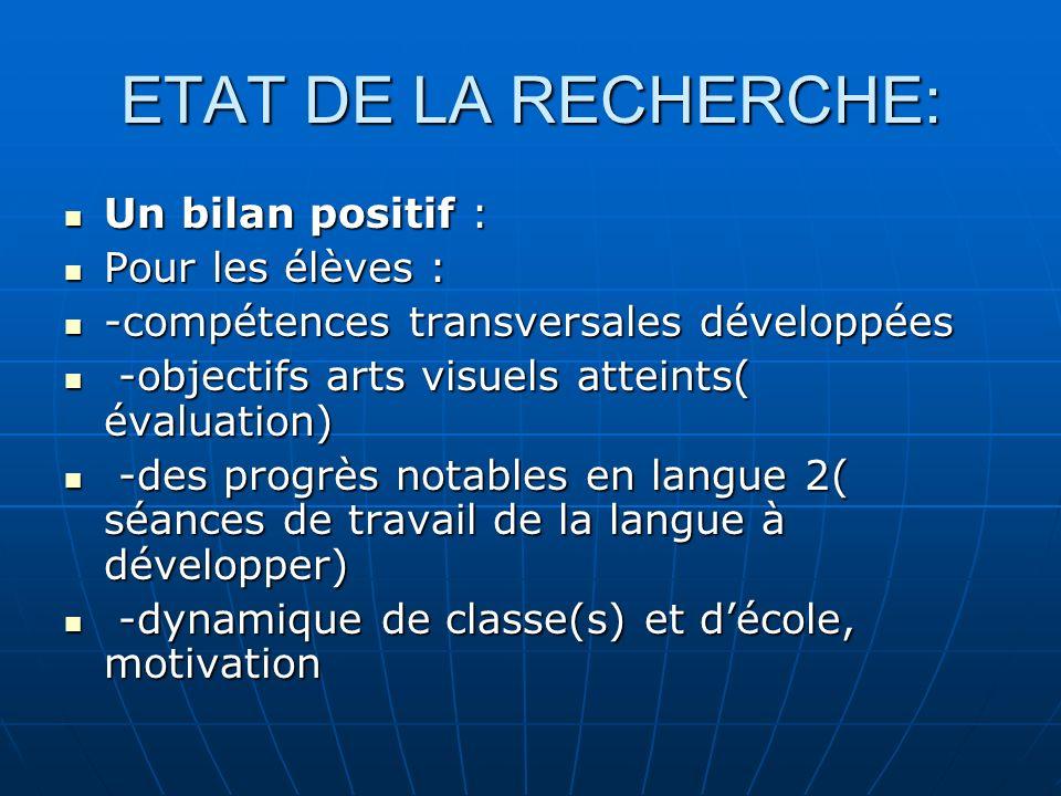 ETAT DE LA RECHERCHE: Un bilan positif : Un bilan positif : Pour les élèves : Pour les élèves : -compétences transversales développées -compétences tr