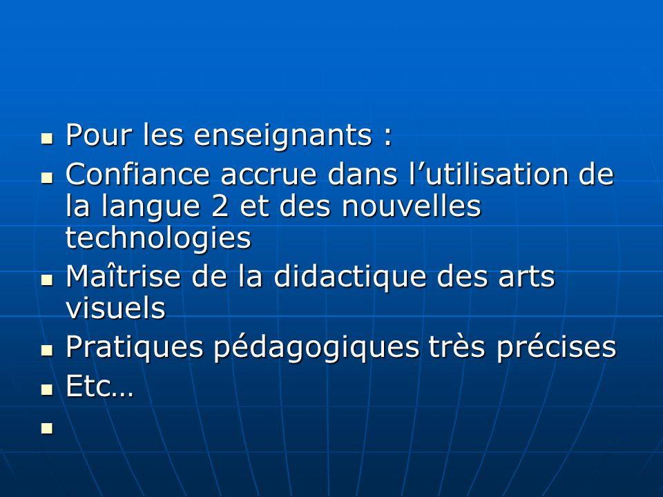 Pour les enseignants : Pour les enseignants : Confiance accrue dans lutilisation de la langue 2 et des nouvelles technologies Confiance accrue dans lu