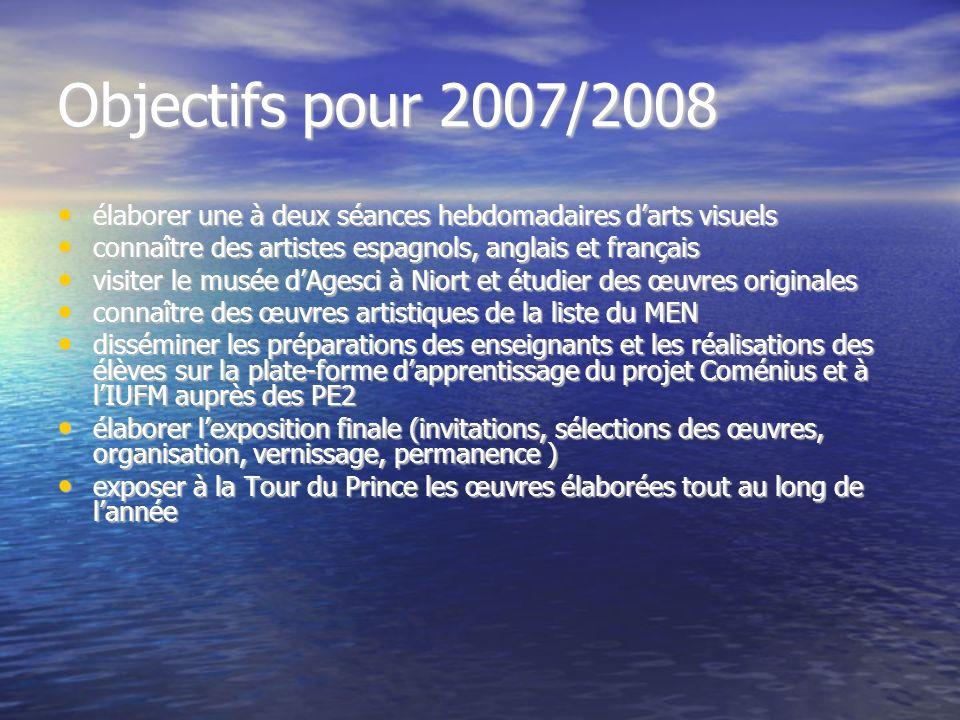 Objectifs pour 2007/2008 élaborer une à deux séances hebdomadaires darts visuels élaborer une à deux séances hebdomadaires darts visuels connaître des