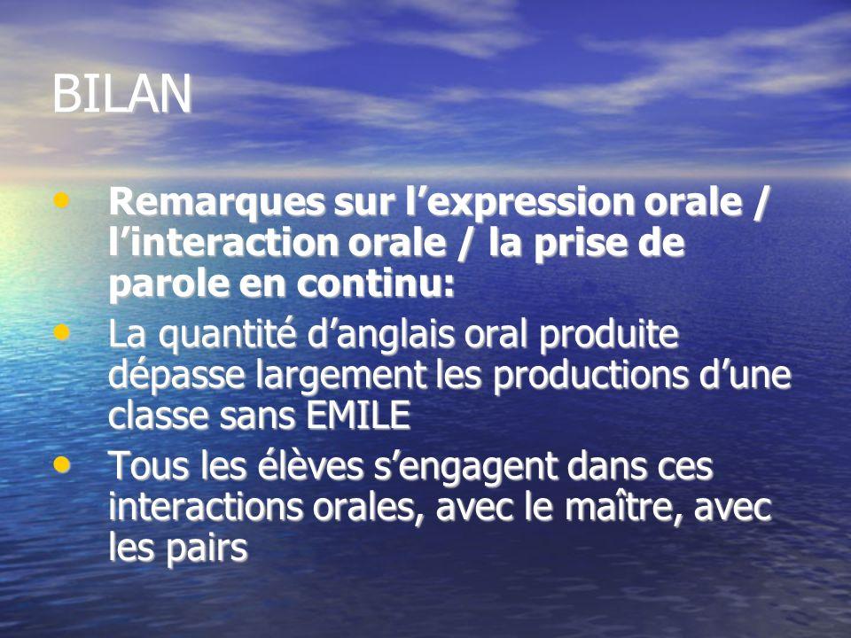 BILAN Remarques sur lexpression orale / linteraction orale / la prise de parole en continu: Remarques sur lexpression orale / linteraction orale / la