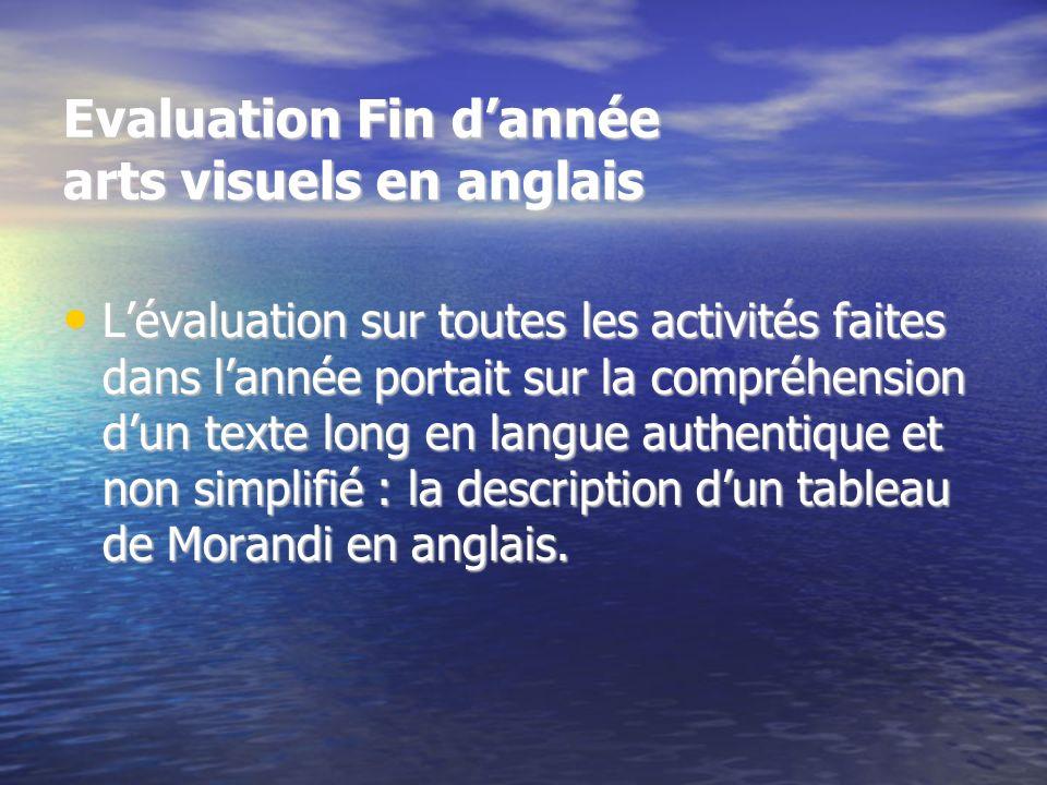 Evaluation Fin dannée arts visuels en anglais Lévaluation sur toutes les activités faites dans lannée portait sur la compréhension dun texte long en l
