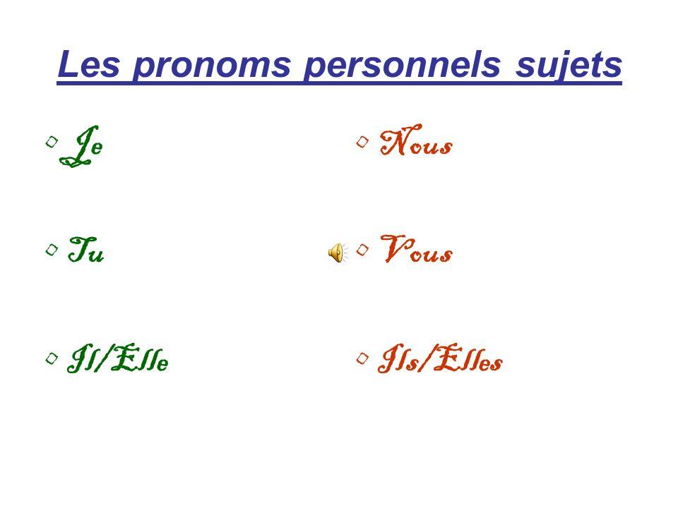 Les pronoms personnels sujets Je Tu Il/Elle Nous Vous Ils/Elles