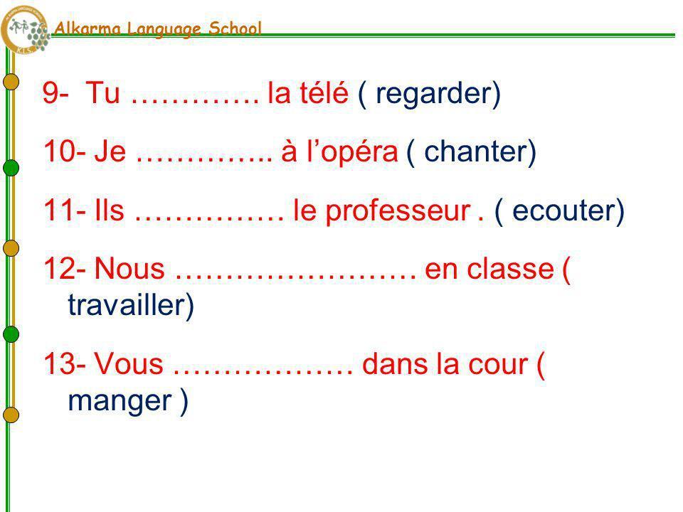 Alkarma Language School 4- Maintenant, nous ………... à la balle.(jouer) 5- Aujourdhui, je …………. Vite ( marcher ) 6- Ali ……….. de la musique.( ecouter) 7