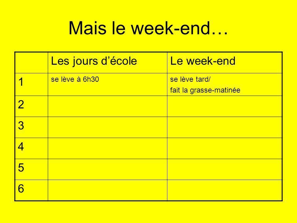 Mais le week-end… Les jours décoleLe week-end 1 se lève à 6h30se lève tard/ fait la grasse-matinée 2 3 4 5 6