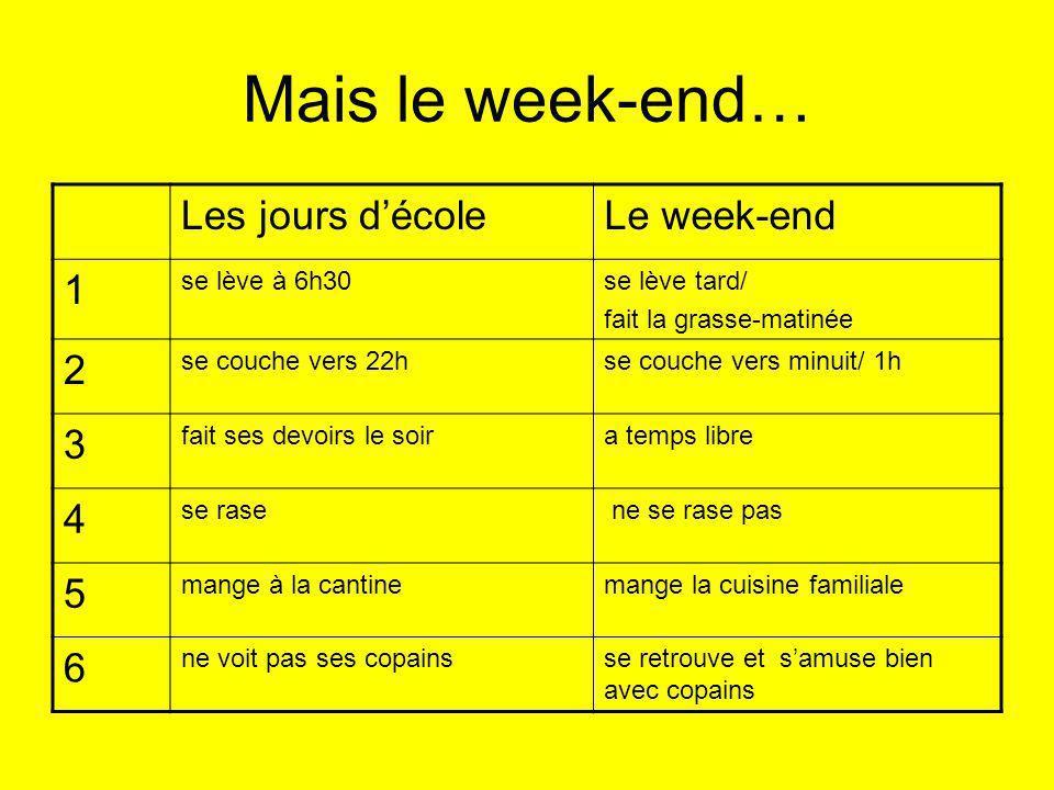 Mais le week-end… Les jours décoleLe week-end 1 se lève à 6h30se lève tard/ fait la grasse-matinée 2 se couche vers 22hse couche vers minuit/ 1h 3 fai