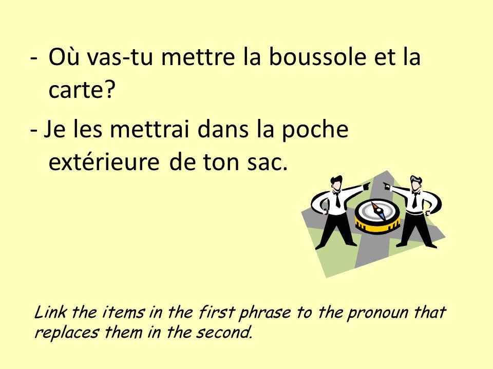 Link the items in the first phrase to the pronoun that replaces them in the second. -Où vas-tu mettre la boussole et la carte? - Je les mettrai dans l
