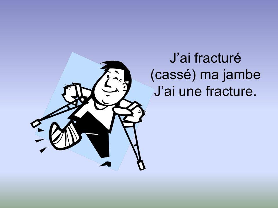 Jai fracturé (cassé) ma jambe Jai une fracture.