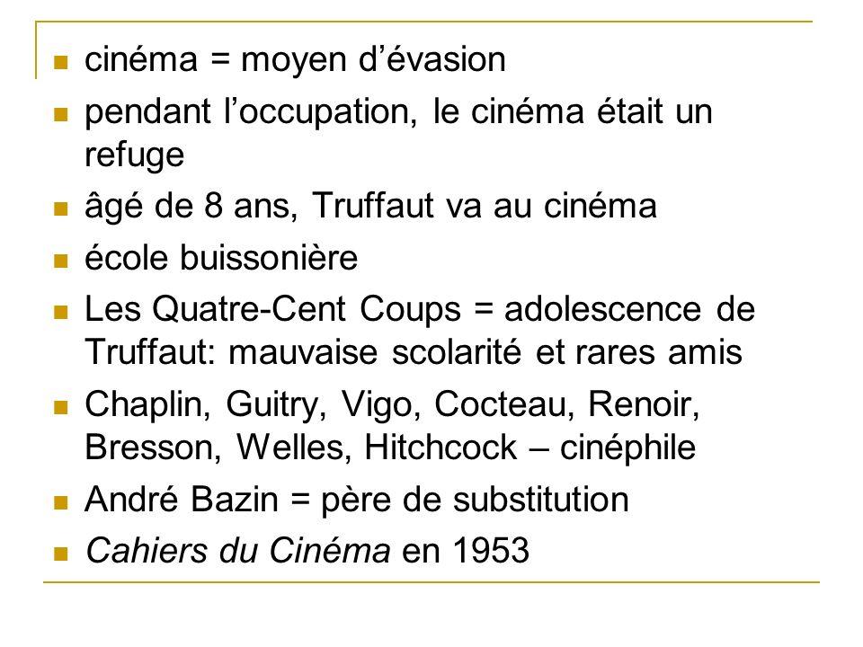 cinéma = moyen dévasion pendant loccupation, le cinéma était un refuge âgé de 8 ans, Truffaut va au cinéma école buissonière Les Quatre-Cent Coups = a