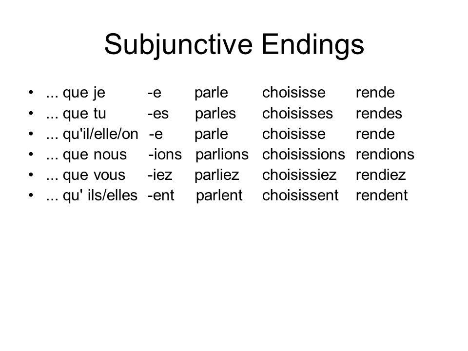 Subjunctive Endings... que je -e parle choisisse rende... que tu -es parles choisisses rendes... qu'il/elle/on -e parle choisisse rende... que nous -i