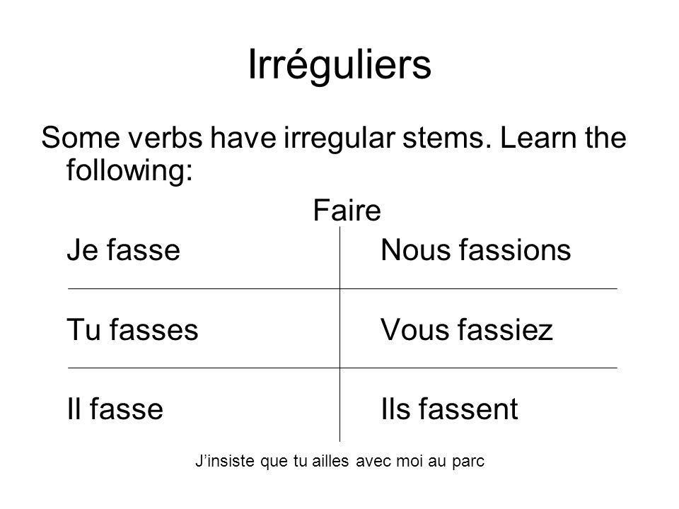 Irréguliers Some verbs have irregular stems. Learn the following: Faire Je fasseNous fassions Tu fassesVous fassiez Il fasseIls fassent Jinsiste que t