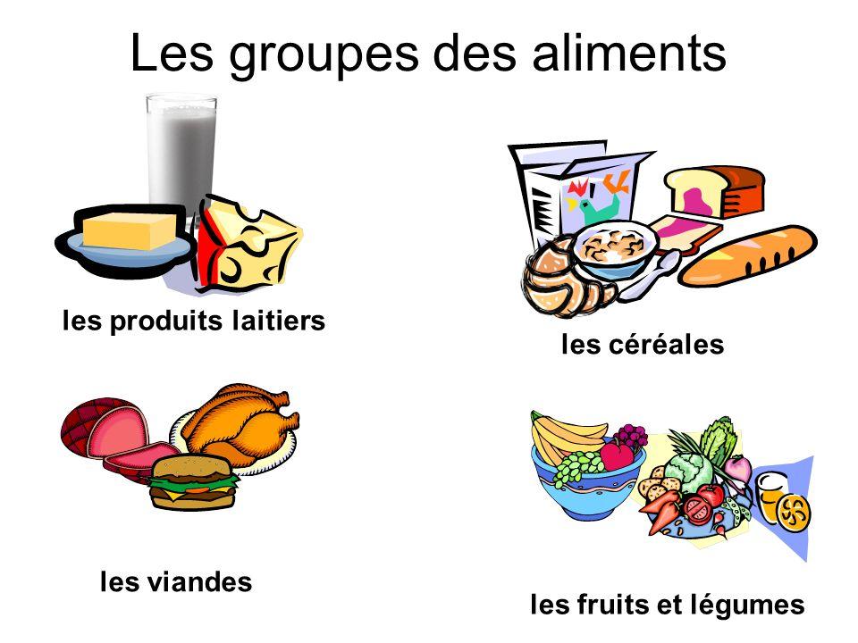 Les groupes des aliments les produits laitiers les céréales les fruits et légumes les viandes
