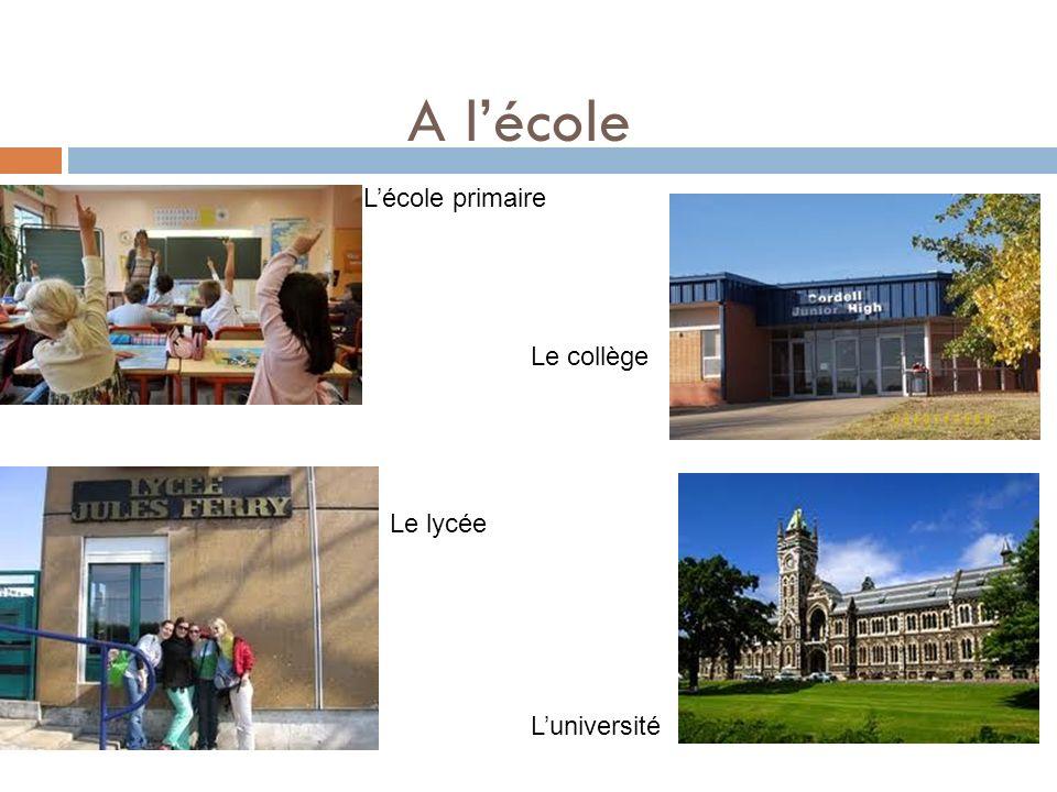A lécole Lécole primaire Luniversité Le lycée Le collège