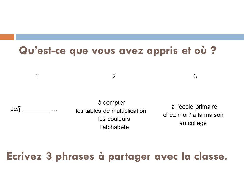 à lécole primaire au collège Je/j ________ … à compter les tables de multiplication lalphabète les couleurs chez moi / à la maison Quest-ce que vous avez appris et où .