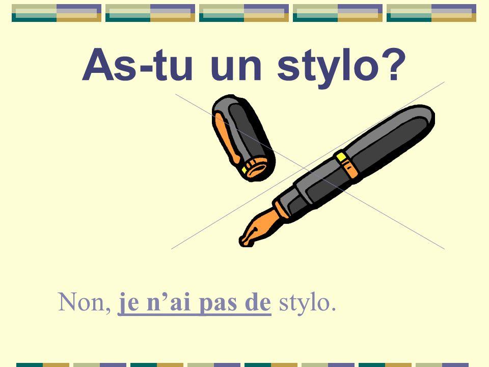 As-tu un stylo Non, je nai pas de stylo.