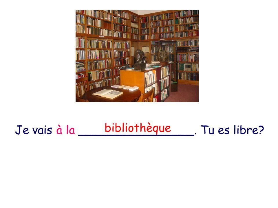 Je vais à la ________________. Tu es libre? bibliothèque