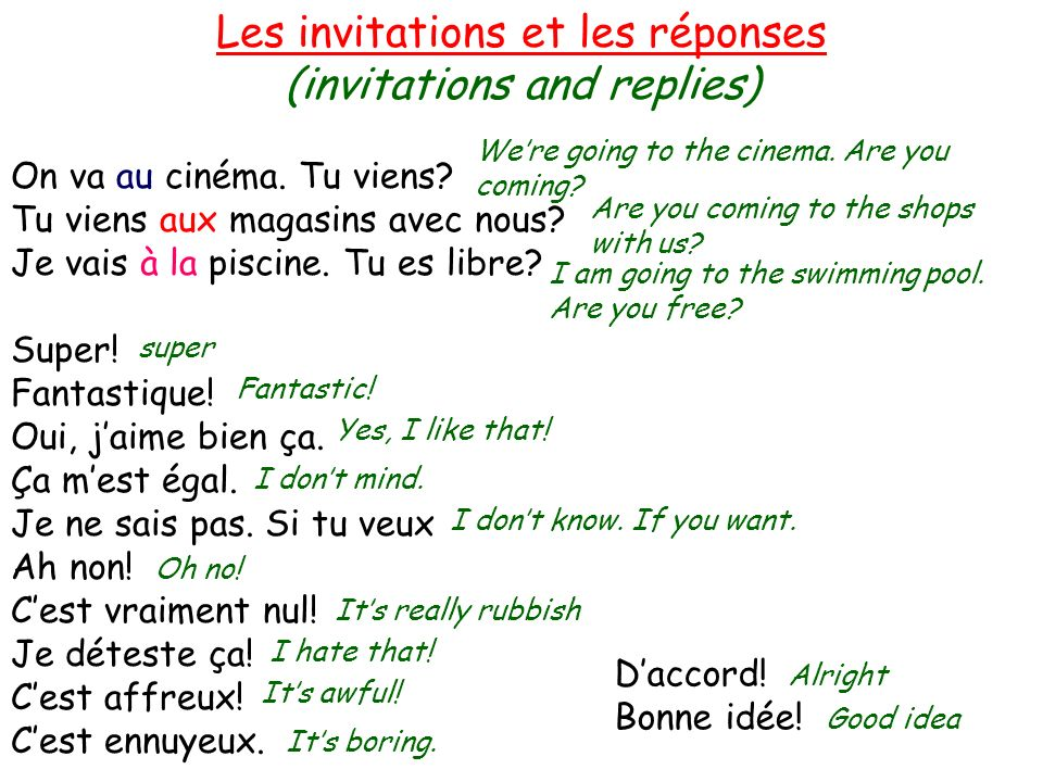 Les invitations et les réponses (invitations and replies) On va au cinéma.