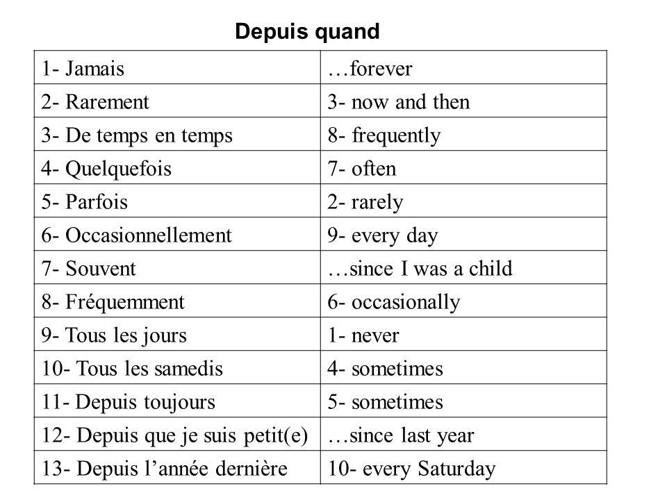 1- Jamais…forever 2- Rarement3- now and then 3- De temps en temps8- frequently 4- Quelquefois7- often 5- Parfois2- rarely 6- Occasionnellement9- every