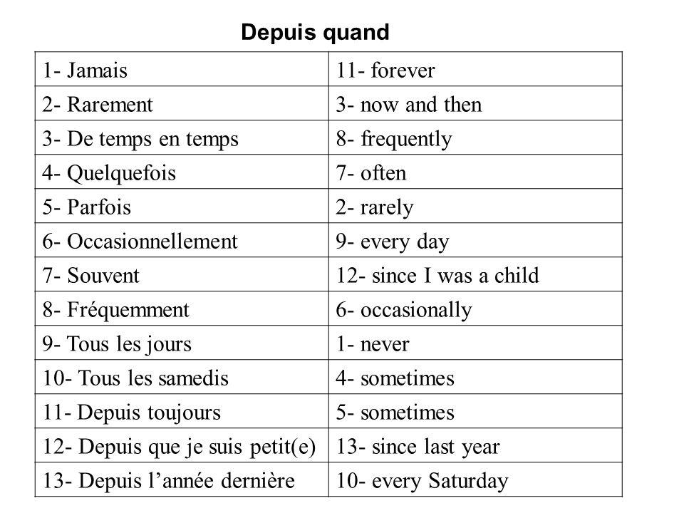 1- Jamais11- forever 2- Rarement3- now and then 3- De temps en temps8- frequently 4- Quelquefois7- often 5- Parfois2- rarely 6- Occasionnellement9- ev