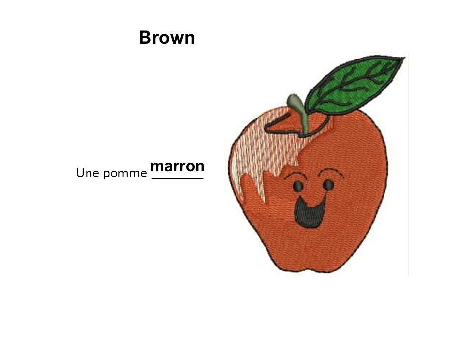 Une pomme ________ marron Brown