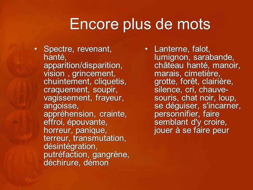 Encore plus de mots Spectre, revenant, hanté, apparition/disparition, vision, grincement, chuintement, cliquetis, craquement, soupir, vagissement, fra