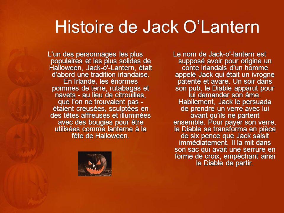 Histoire de Jack OLantern L'un des personnages les plus populaires et les plus solides de Halloween, Jack-o'-Lantern, était d'abord une tradition irla