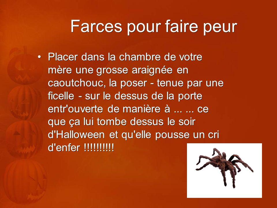 Farces pour faire peur Placer dans la chambre de votre mère une grosse araignée en caoutchouc, la poser - tenue par une ficelle - sur le dessus de la