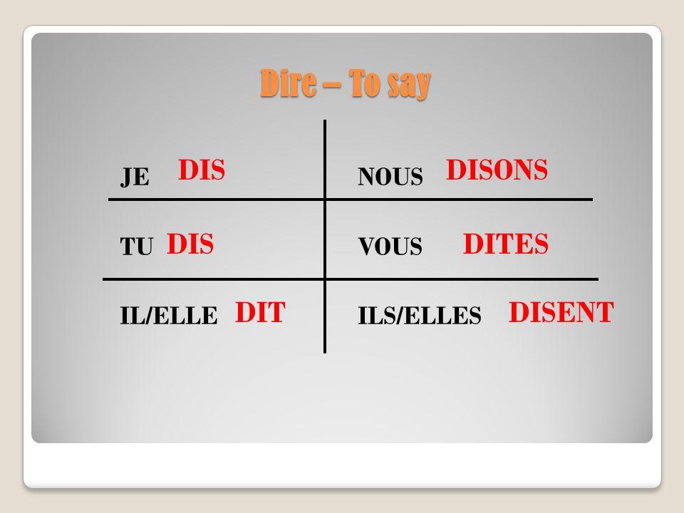 Dire – To say JE NOUS TU VOUS IL/ELLE ILS/ELLES DIS DIT DIS DISONS DITES DISENT