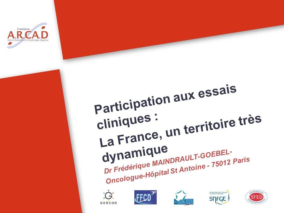 Participation aux essais cliniques : La France, un territoire très dynamique Dr Frédérique MAINDRAULT-GOEBEL- Oncologue-Hôpital St Antoine - 75012 Par