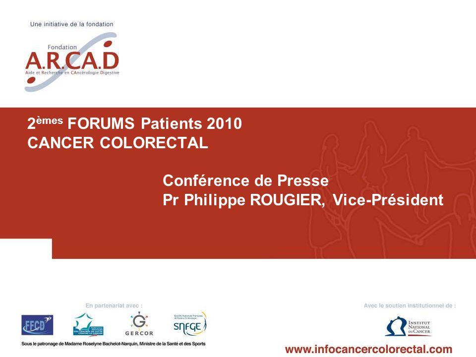 1 2 èmes FORUMS Patients 2010 CANCER COLORECTAL Conférence de Presse Pr Philippe ROUGIER, Vice-Président