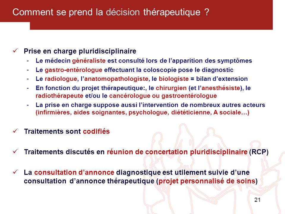 21 Comment se prend la décision thérapeutique ? Prise en charge pluridisciplinaire -Le médecin généraliste est consulté lors de lapparition des symptô